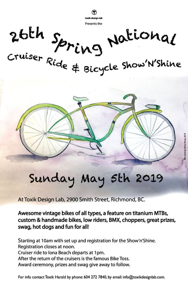 Awesome vintage bikes of all types, a feature on titanium MTBs, custom & handmade bikes, low riders, BMX, choppers, great prizes, swag, hot dogs and fun for all!